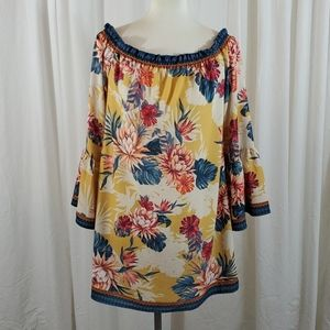 FLYING TOMATO Patterned Bell Sleeve Tunic
